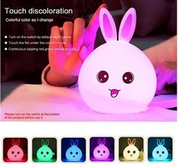 Wholesale Color Changing Baby Night Light - Baby Touch Discoloration Lamp Rabbit Ear Silicion Shades Kid Color Changing Night Light LED Lamp Decoration
