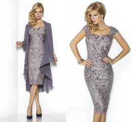 Wholesale Classic Women Jackets - Elegant Two Pieces Prom Dress Gray Sheath Mother Party Dresses Cheap Knee Length Women Lace Formal Cocktail Dress With Jacket Evening Gowns