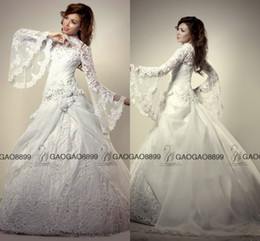 Wholesale Turkey Cover - Muslim Wedding Dresses Turkey Ball Gown High Neck Modest Middle East Dubai Arabic Long Sleeve Luxury Lace Beaded Plus Size Wedding Gowns