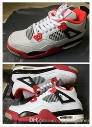 Wholesale Cheaper Basketball Shoes - New Air Retro 4 Retro 4s Bred TORO BRAVO Fire Cheaper Red Men Basketball Fashion Shoes sneakers With Top quality US 8.0-13