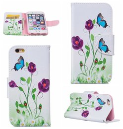 Wholesale Butterfly Pouch Iphone - Dreamcatcher Skull Holder Flower Butterfly Wallet Leather Ghost Flip Cover Card Slot Pouch For Iphone 7 Pro Plus 6 6S Plus SE 5 5S Touch 6 5