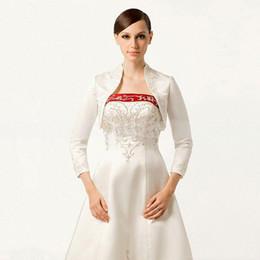 Wholesale Beaded Sequin Bolero - Latest Vintage Style Wedding Jacket With Embroidery Beaded 2016 3 4 Long Sleeve Bolero With Stading Collar Custom Made Cheap Bridal Wraps