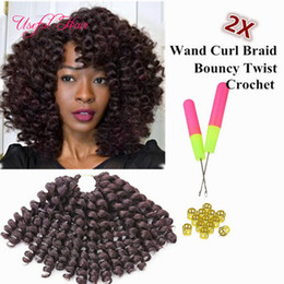 high quality 8inch wand curl bouncy twist crochet hair extensions ,Janet Collection synthetic braiding hair ombre crochet braiding hair Coupon