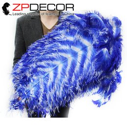 Wholesale Large White Ostrich Feathers - ZPDECOR 70-75cm(28-30inch) Incredible White and Royal Blue Striped Dyed Large Ostrich Feathers for Bulk Sale