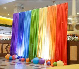 Wholesale Back Drops For Weddings - Ice Silk Rainbow Wedding Backdrop Colourful Wedding Background Party Decoration background drop colors for choose WT022