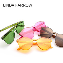Wholesale Vogue Brand Glasses - Jelly color Fashion Brand Sunglasses House of Holland X Linda Farrow Vintage Eyewear Women Vogue Glasses Oculos de sol masculino feminino