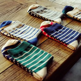 Wholesale Cheap Wholesale Cotton Dresses - Wholesale-New Fashion Korean Mens Dress Long Socks Green Cheap Men Classic Striped Socks Winter Pure Cotton Bussiness Sock