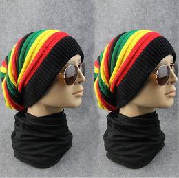 Wholesale Wholesale Female Novelties - New Jamaica Reggae Gorro Rasta Style Cappello Hip Pop Men's Winter Hats Female Beanie Skull Cap Fashion Women's Knit Cap