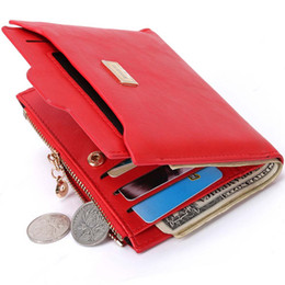 Wholesale Cheap Clutch Purses Leather - New Small Designer Slim Women Red Wallet Thin Zipper Ladies PU Leather Coin Purses Female Purse Mini Clutch Cheap Womens Wallets