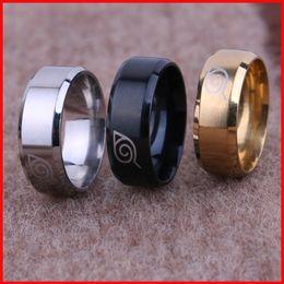Wholesale rings naruto - Titanium Naruto Uzumaki Finger Rings Tail rings Thumb ring Women Men Gold silver black Band Rings anime jewelry 080139