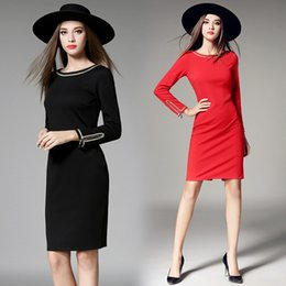 Wholesale Fashion Trends Skirts - New Fashion Trend Women Long Middle Dress Long-Sleeved Dress Red Dress Slim Package Hip Casual Skirt