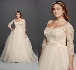 Wholesale Princess Scoop Neck Dresses - Oleg Cassini Light Champagne Lace Plus Size Wedding Dresses Scoop Neck 3 4 Long Sleeves Covered Buttons 2016 Princess Garden Bridal Gowns