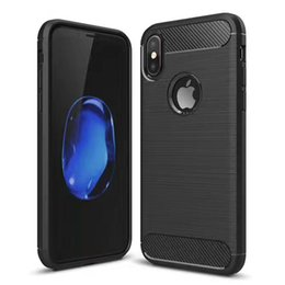 Wholesale Carbon Fibre Case Iphone - TPU Back Cover Phone Case For iphone X 7 7 plus iphone 6 5 SE Phone Cases Carbon Fibre Drawing Brushed TPU Case
