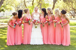 Wholesale Light Colored Ruched Dresses - Floor Length Elegant Long Coral Colored Bridesmaid Dresses Cheap Simple Vestidos Cheap Chiffon Vestido Madrinha Longo