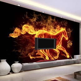Wholesale Wood Contact Paper - Wholesale- Custom 3D Mural Wallpaper Creative Modern Abstract Art Burning Fire Horse Wall Mural TV Backdrop Bedding Room Wall Contact Paper