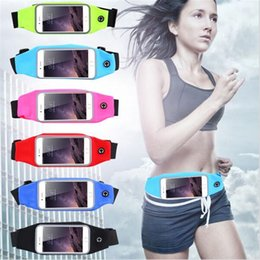 Wholesale Running Phone Belt - Bags Outdoor Sports Gym Waist Cell Phone Case For iPhone 6 6s 7 Plus Screen Card Holder Earphone Hole Belt Running Wallet
