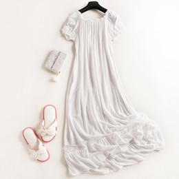 Wholesale Ladies Long Sleepwear - Wholesale- Retro Sweet Princess White Nightgown 100% Cotton Women's Sleepwear Ladies Pijamas Short-Sleeved Nightgown Long Pyjamas Tracksuit