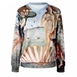 Wholesale Gold Venus - The Birth of Venus 2016 Fashion Full Sleeve Print Moleton Hoodies Sweatshirt Hoodie Women Sportswear