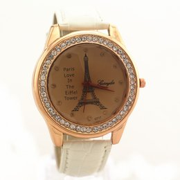 Wholesale Champagne Towers - Free Shipping!Gold plating alloy round case,PVC leather band,Effeil tower imprint dial,quartz movement,Gerryda fashion woman lady watch,717