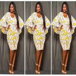 Wholesale Sweets Scoop - Cloak Print Dress Women 2016 O-Neck Flare Sleeve Chiffon Shawl Autumn Sweet Dress Sexy Women Plus Size Evening Dress L-3XL