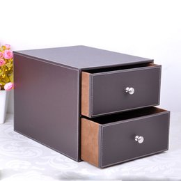 Wholesale Brown File Box - Wholesale- double layer double drawer wood structure leather desk filing cabinet storage box office organizer document container brown 214B