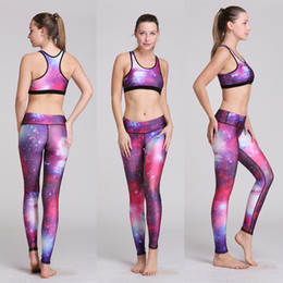 Wholesale Digital Printed Galaxy - Fashion 3 Galaxy Tracksuits Styles Gym Fitness Bodysuits 3D Digital Print Crop Top Bra Slim Leggings Pants Jogger Sport Suits Yoga Wear
