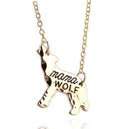 Wholesale Heart Shaped Birthday Gifts - Fashion Trendy Wolf Animal Shape Mama Wolf Pendant Necklace Jewelry For Mom Gift Mother's Day Birthday Gift Wolf Jewelry 5