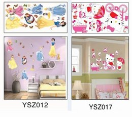 Wholesale Nursery Toys - New Hello Kitty Removable Plane Wall sticker Snow White Decor Sticker For Bedroom TV Background Wall Sticker Kids Toys DIY Plastic Sticker