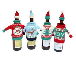 Wholesale Knitted Bottle Cover - Cute Knitted Christmas Wine Bottle Cover Decorated Christmas Wine Bag With Hat Small Cloth Christmas Commodity Christmas Bottle Sets ELCD014