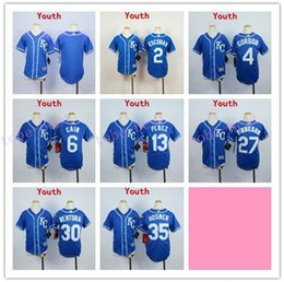 Wholesale Mixed Light S - Kids Stitched MLB Kansas City Royals 35 Hosmer 4 Gordon 13 Perez 30 Ventura 6 Cain Dark Light Blue White Gray Baseball Jerseys Mix order