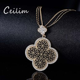 Wholesale Clover Sweater - Exquisite Hollow Four Leaf Clover Pendant Necklace Silver Gold Color Crystal Sweater Chain Necklace Statement Jewelry for Women Lover Gift