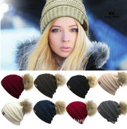 Wholesale Oversized Knitted Hat - 9 Colors CC Knitted Hats CC Trendy Winter Beanies Warm Oversized Chunky Skull Caps Soft Cable Knitted Slouchy Crochet Hats CCA7349 30pcs