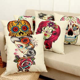 Wholesale Bedroom Couches - skull Decorative cushion Pillow Case Cover Square Linen Cotton couch Pillowcase Living room Bedroom sets cushions pilow cover 240606