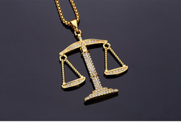 Wholesale Thick Gold Chains Designs - Fashion men women Hip Hop Balance designs Necklaces Pendant 18K Thick Gold Plated HIPHOP streetwear Rhinestones Diamond Necklaces Jewelry