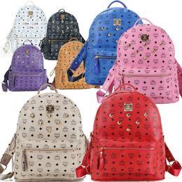 Wholesale American Girl School Backpack - Wholesale Punk style Rivet Backpack Fashion Men Women Cheap Knapsack Korean Stylish Shoulder Bag Brand Designer Bag High-end PU School Bag