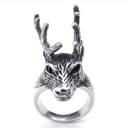 Wholesale Unique Themes - 071706-Wholesale Cool Elegant Fashion Jewelry Rings Animal Themes Ring unique stainless steel Casting Reindeer Ring, US Size 8-14