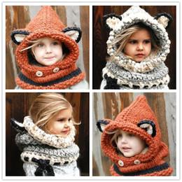 Moda linda fox cat ouvido inverno à prova de vento chapéus e cachecol set  para crianças crochet macio chapéu morno do bebê gorros de inverno para  crianças ... 71577f5cb31