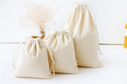 Wholesale Drawstring Cotton Pouch - Natural Canvas Drawstring Bags 100% Natural Cotton Storage Bags Laundry Favor Holder Fashion Jewelry Pouches Gift bags with S M L Sizes