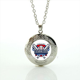 Wholesale Rhinestone Baseballs - New fashion American football picture locket necklace Baseball jewelry football sport accessory for men and boys NF048