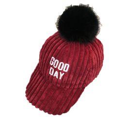 Wholesale Wholesale Corduroy Hats - Unisex Childer corduroy Caps Letter Design Solid Color Bobbles Hats Kid Winter Warm Fashion Cap 2-6T MZ5170