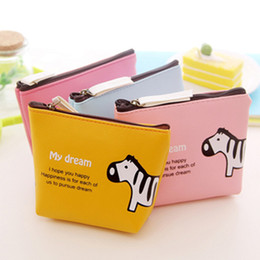 Wholesale Wholesale Leather Small Coin Pouches - Cartoon animal zipper pu Leather Coin Purse Cute Small Change Purses Wallet Coin Bag Card Holders Women Pouch Mini Purse