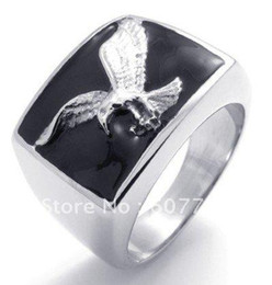 Wholesale Hawk Rings - USA Popular 316L Stainless Steel Black Enamel Casting Bald Eagle Hawk Rings SZ#8-13