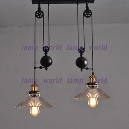 Wholesale Down Halogen - up & down dining room vintage pulley lamp Kitchen light Rise fall glass shade Chandelier industrial lighting Bar E27 Edison pendant lamps