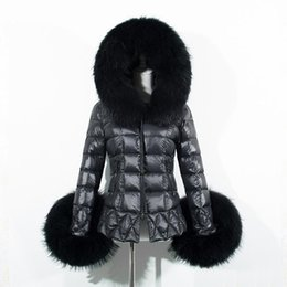 Wholesale Trimmer Thinning - In the winter of 2016 female black down jacket coat raccoon Fur - Trim cover fashion long-sleeved warm coat coat check quilting thin coat