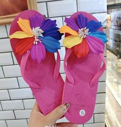 Wholesale Sandal Handmade Leather Women - Fashion Women Travel Beach Flip Flops Slippers Sandals Handmade Flower Brand Designer Slippers 8 Colors S1081