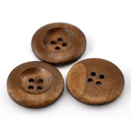 """Wholesale Cheap Wood Rounds - Wholesale 50PCs Coffee 4 Holes Round Wood Sewing Buttons 25mm(1"""") Dia. M67289 Buttons Cheap Buttons"""