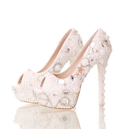 Wholesale Pearl Shoes Peep Toe Wedding - 2016 Summer Peep Toe White Pearl Shoes Wedding Bridal 14cm High Heels Platform Crystal Bride Shoes Handmade Party Prom Pumps