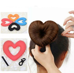 Wholesale Tiara Shaped Rings - 1PC Cute Heart Shape Tiaras Hair styling Tool Women Girls Sponge Bract Head Meatball Hair Bun Maker Ring Donut