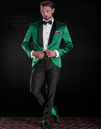 Wholesale Shiny Black Jackets For Men - Wholesale-2016 New Tailored Groom Suits For Men Shiny Satin Green Tuxedo Jacket With Black Pants Custom Made Groom Tuxedos