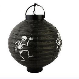 Wholesale Toy Bats Halloween - Halloween Paper Lanterns Hanging Pumpkin Lantern with Halloween Holiday Decoration Lanterns with LED Light Skeleton Bats Jack-O Spide OTH583